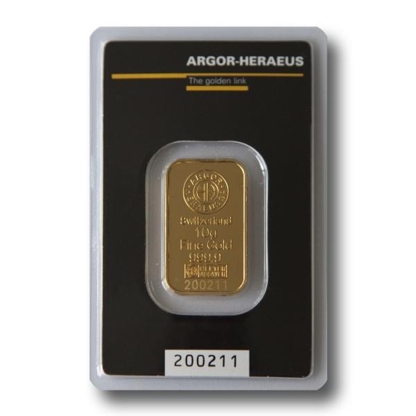10 g Goldbarren (Argor-Heraeus Schweiz / Heraeus)