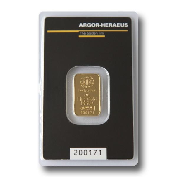 5 g Goldbarren (Argor-Heraeus Schweiz / Heraeus)