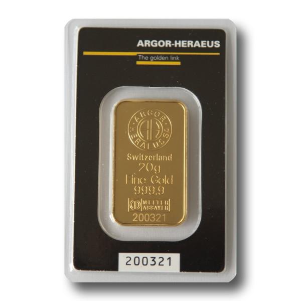 20 g Goldbarren (Argor-Heraeus Schweiz / Heraeus)
